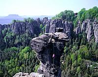 Germany, Saxony, bastion, rocks, climbers, summer, Elbsandstein_mountains, Elb_Valley, mountains, climbing area, rock_formations, rock_towers, nature,...