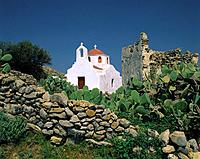 Greece, Cyclades, island Mykonos, Ano Mera, stone_wall, ruin, church, Aegean, mountain_village, cacti, nature,stone,_wall, chapel, Lord´s house, archi...