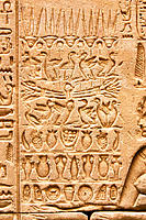 Hieroglyphs on the walls of Horus temple. Edfu. Egypt