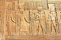 Detail of relief of temple. Philae. Aswan. Egypt