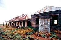Abandoned hotel on remote road. Outback. Australia