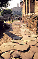 Ancient paving stones. Roman Forum. Rome. Italy