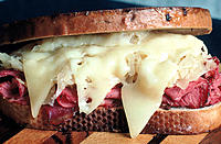 Sandwich with corned beef, sauerkraut and swiss cheese