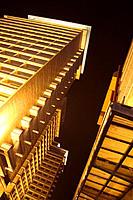 High-rise buildings illuminated at night. Beijing. China