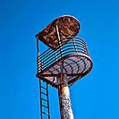 Abandoned, rusty lifeguard´s tower. Cabo de Gata. Spain