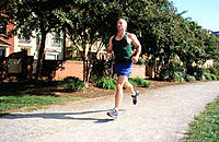 Man, 40-45, running outside