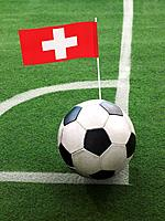 Swiss Flag on Top of Soccer Ball
