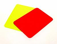 Close_up of red and yellow cards