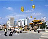 China, Asia, Kunming, Yunnan Province, town, Kunming, city, Jinma Biji Square, archway, gates, gate, Golden horse gate