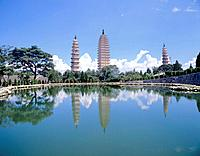 China, Asia, Dali city, Yunnan Province, Dali, Three Pagodas, Chong Sheng Temple, major touristic attraction, Asia, pa