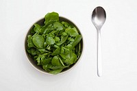 Bowl of spinach and watercress and a spoon