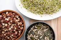 Aduki beans alfalfa sprouts and seeds