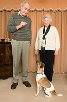 Senior couple and pet dog
