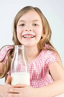 Girl with bottle of milk (thumbnail)