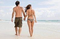 A couple walking along a beach