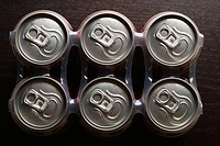 Elevated view of drink cans