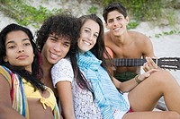 Portrait of teenagers on a beach