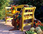 Garden seat with flowers and fruits