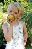 Little blonde girl is biting into an apple