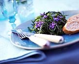 Dish with rocket, eatable flowers and bread
