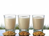 Three glasses of milk and different kinds of grain