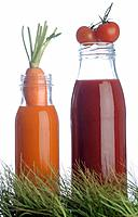Carrot juice and tomato juice