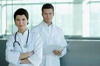 Portrait of a female and a male doctor standing together