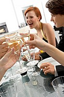 Close_up of human hands toasting with champagne at a dinner party