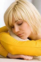 Close_up of a young woman sleeping