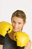 Portrait of a female boxer smiling