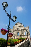 Lamppost with church in background, St. Paul´s Church, Macau, Guangdong Province, China