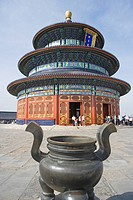 Urn in front of pagoda, Temple Of Heaven, Beijing, China