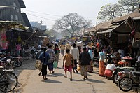 People at market in town, Zegyo Market, Mandalay, Myanmar
