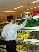 Stacking Fairtrade Bananas in Waitrose Supermarket Epsom Surrey England