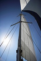 Sail, low angle view, lens flare