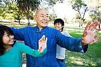 Grandfather teaching Tai Chi to grandchildren