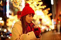 Woman drinking hot wine