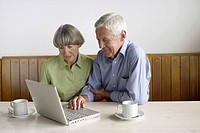 Senior adult couple sitting in front of a laptop