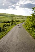 Cyclist on road through hills (thumbnail)