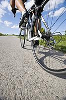 Close_up view of a cyclist pedaling