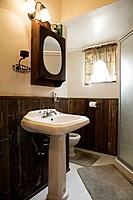 Small bathroom with a pedestal sink