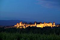 La Cite Carcassonne Aude Languedoc-Roussillon France at sunset