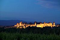 La Cite Carcassonne Aude Languedoc-Roussillon France at sunset