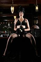 Young sexy woman in burlesque bar