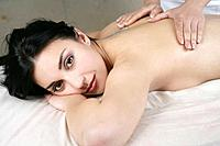 Young woman getting back massage.