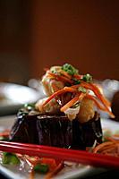 Close_up of Asian fusion dish.