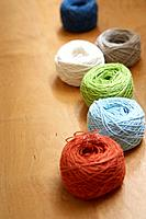 Variety of yarn balls, close_up