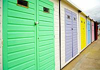 Colorful Beach Huts at Lyme Regis, Dorset, UK