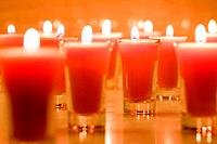 Lit candles in jars