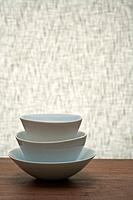 Stack of Japanese bowls on table